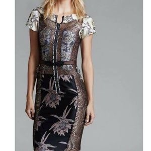 STUNNING+RARE metallic zip up bodycon mini dress
